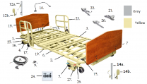 PrimeCare Drive Choice Bed 601 15902C Assist Rail Pin Assembly SP01-PCB300-52-01E