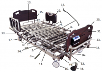 PrimeCare Bed 2002 Headboard Mounting Brackets SP02-PPB2000-1612E