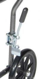 "Lightweight Steel Transport Wheelchair, Fixed Full Arms, 19"" Seat Left Brake STDS4S092L"